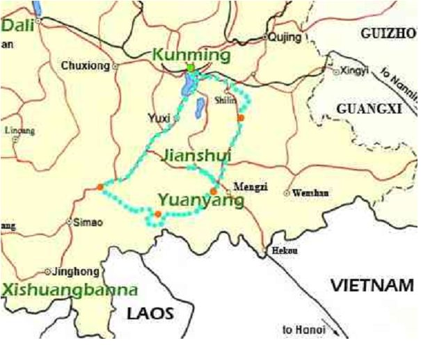 Guided Budget Tours Through South West China - Qujing map